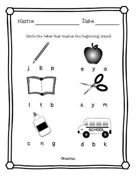 Phonological Awareness Activities - Beginning Sounds, Syllables and Rhyming