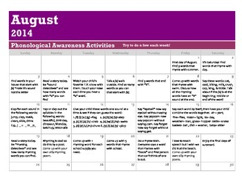 Phonological Awareness Activities- Summer Break Calendar