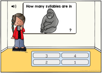 Phonological Awareness Activities: Syllable Recognition Boom Cards