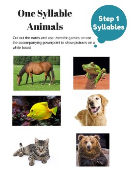 Phonological Awareness - Animal Pack, Syllables, Rhyme and Phonemes