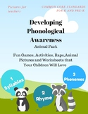 Phonological Awareness - Animal Pack, Syllables, Rhyme and