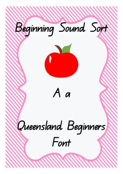 Phonological Awareness - Beginning Sounds Sort. Qld Beginners Font