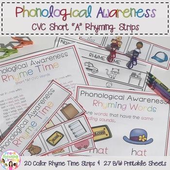 """Phonological Awareness CVC Short """"A"""" Rhyming Strips"""