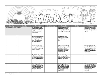 Phonological Awareness Calendar for Parents