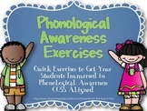 Phonological Awareness Exercises CCSS Aligned