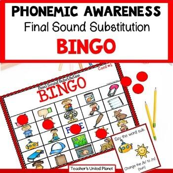 Phonological Awareness Final Sound Substitution Bingo