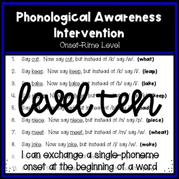 Phonological Awareness Intervention Level 10 (Onset-Rime Level)