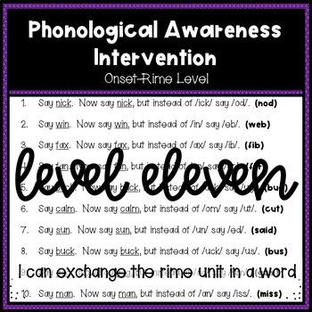 Phonological Awareness Intervention Level 11 (Onset-Rime Level)