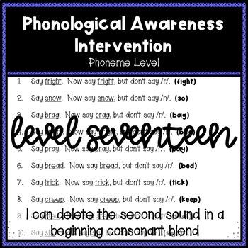 Phonological Awareness Intervention Level 17 (Phoneme Level)