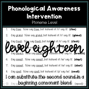 Phonological Awareness Intervention Level 18 (Phoneme Level)