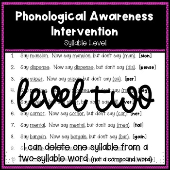 Phonological Awareness Intervention Level 2 (Syllable Level)