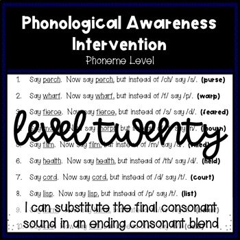 Phonological Awareness Intervention Level 20 (Phoneme Level)