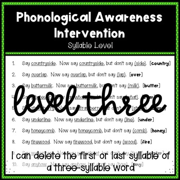 Phonological Awareness Intervention Level 3 (Syllable Level)