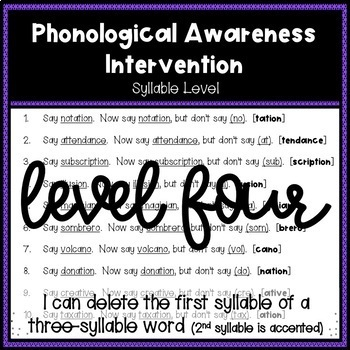 Phonological Awareness Intervention Level 4 (Syllable Level)