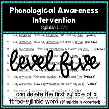 Phonological Awareness Intervention Level 5 (Syllable Level)