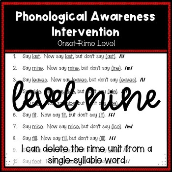 Phonological Awareness Intervention Level 9 (Onset-Rime Level)