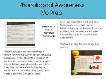 Phonological Awareness No Prep Activity