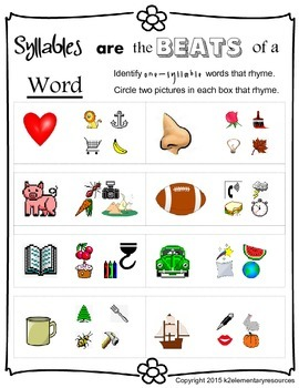 Phonological Awareness: One Syllable Rhyme Worksheet