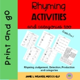 Phonological Awareness Rhyming Activity