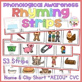 "Phonological Awareness - Rhyming Strips(Name & Clip Short ""AEIOU"" Words)"