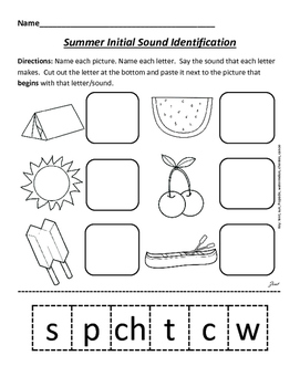 Phonological Awareness Sheets for Summer