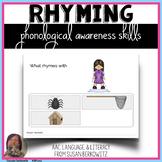 Phonological Awareness Skills Rhyming BOOM Cards digital a