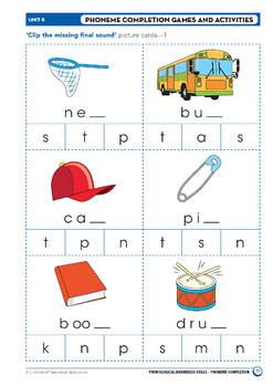 Phonological Awareness Skills – Unit 8 – Phoneme Completion