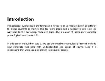 "Phonological Awareness - Step 2 - ""Syllables"""