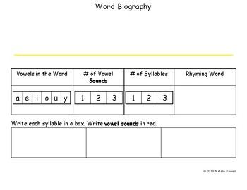 "Phonological Awareness WarmUp: ""Word Biography"""