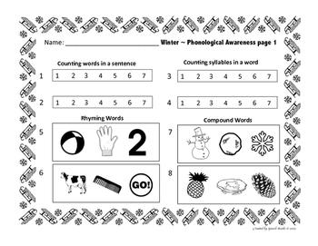 Phonological Awareness Winter Formative Assessment ~ RTI & Progress Monitoring