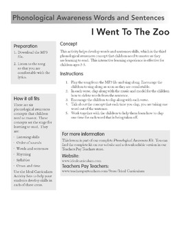 Phonological Awareness Words and Sentences Activity -I Went To The Zoo