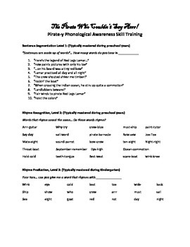 Phonological Awareness to go along with The Pirate Who Cou