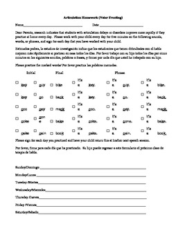 Phonological Process Homework Directions in Spanish and English