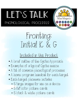 Phonological Processes: Fronting Initial K/G