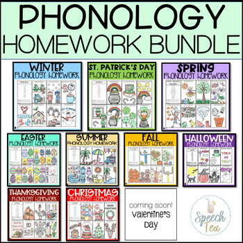 Phonological Processes GROWING Homework Bundle for Holidays and Seasons