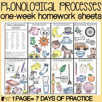 Phonological Processes Homework Color Sheets | Speech Therapy Homework