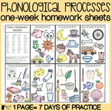 Phonological Processes Homework Color Sheets | Speech Ther