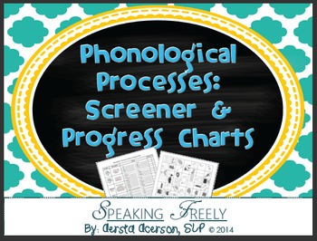 Phonological Processes Screen & Progress Charts With Pictures