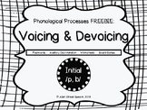 Phonological Processes - Voicing and Devoicing FREEBIE!
