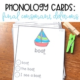 Phonology Cards Final Consonant Deletions For Speech Therapy