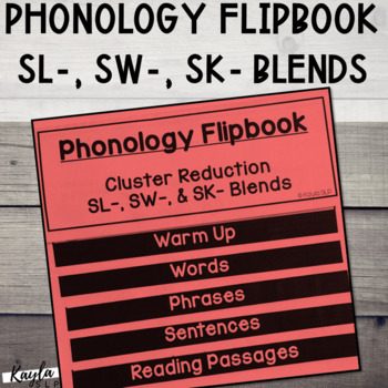 Phonology Flipbook: Cluster Reduction of SL-, SW-, and SK- (Blackline, No Cut!)