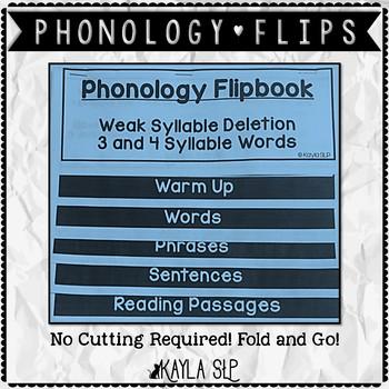 Phonology Flipbook: Weak Syllable Deletion (Blackline, No Cut!)