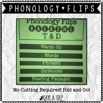 Phonology Flipbook: Backing T&D (Blackline, No Cut!)