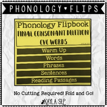 Phonology Flipbook: Final Consonant Deletion of CVC Words (Blackline, No Cut!)