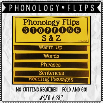 Phonology Flipbook: Stopping S&Z (Blackline, No Cut!)