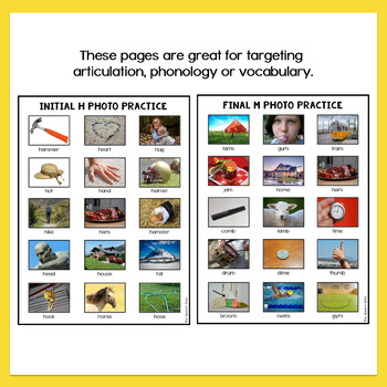 Photo Articulation Worksheets