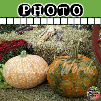 Photo: Autumn Gourds and Hay Bale
