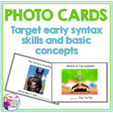 Photo Cards BUNDLE: Grammar/Syntax and Basic Concepts for Speech Therapy