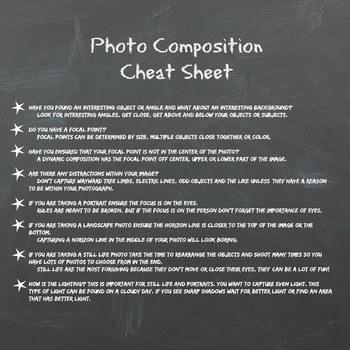 Photo Composition Cheat Sheet