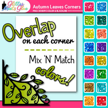 Autumn Leaves Photo Corner Clip Art | Rainbow Glitter Designs for Worksheets